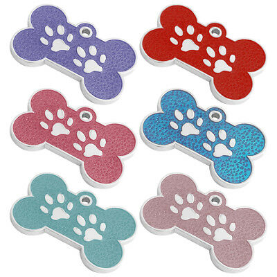 Paw Print Bone Engraved Dog Id Name Tag Disc Personalised Pet Identity Tags