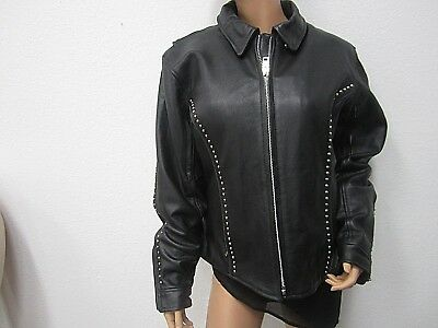 NEW Heavy Hot Leathers Women's Motorcycle Black Stud Leather Jacket Size 2XL