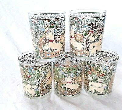 Vintage 5 Unicorn in Captivity Art Tapestry Glasses by Cera Cloisters Medieval