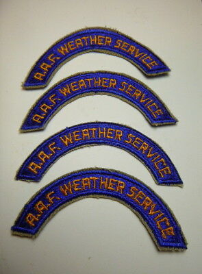 A  Lot of 4   WW 2 U S Army Air Force Weather Tab Cut Edge Snow Back Patches