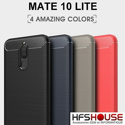 Pour Huawei Mate 10 Lite Coque Housse Etui Carbone Silicone Gel Case Cover