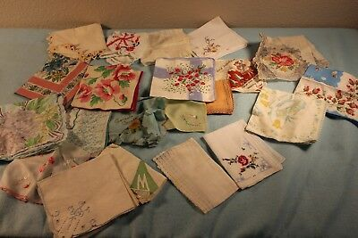 Lot of 22 Vintage Women's Handkerchief/Hankies Cotton Lace, Floral, Embroidered