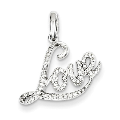 925 Sterling Silver Love Diamond Charm Pendant - 0.009cttw