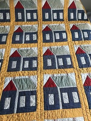 "Antique Schoolhouse School House Quilt Late 1800s - Early 1900s 91"" x 72"""