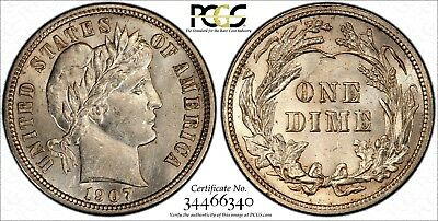 1907 10c Barber Silver Dime PCGS Gold Shield MS62 Blazing Luster!! #40