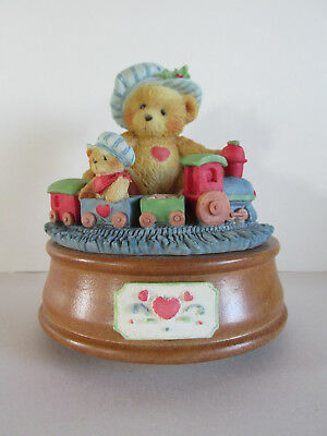 "MIB Cherished Teddies Bear Playing w/Train MUSICAL ""Santa Claus Is Coming ToTown"