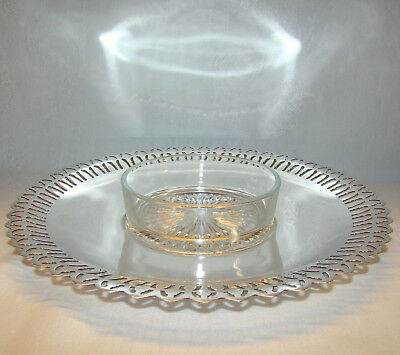 """Academy Silverplate Over Copper 10 3/4"""" Round Pierced Tray & Glass Dip Insert"""