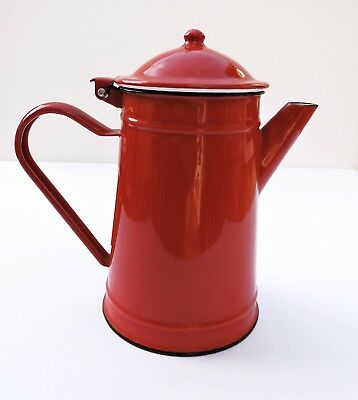 French vintage COFFEE POT red and white enamel old enamelware 015 cafetiere