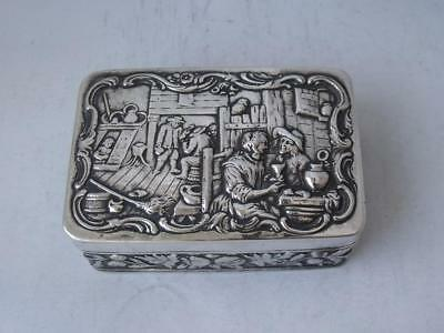 Antique Decorative Solid Sterling Silver Snuff Box 1901/ L 7.7 cm