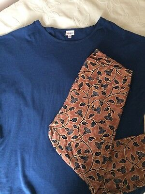 LuLaRoe Classic T Shirt XL Blue and Tall & Curvy TC Leggings Floral Pink Outfit