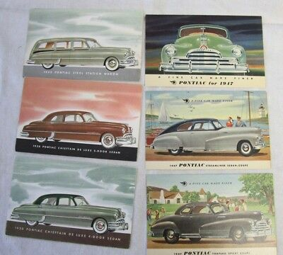 6  Pontiac Automobile Collector Postcards from 1940s & 1950s, Good  Condition