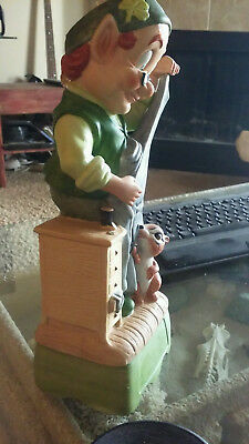 """Hoffman Leprechaun whiskey decanter music box about 14"""" in height missing hat"""