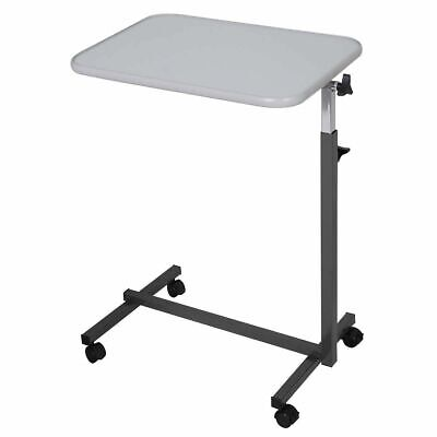 Overbed Table Hospital Food Tray Rolling Laptop Desk with Tilting Top, Gray