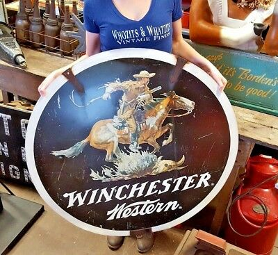 Vintage 1960's Winchester Western Round Double Sided Tin Sign Rare Advertising