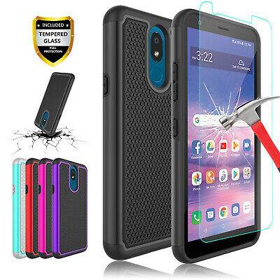 For LG Aristo 2/3/Tribute Dynasty/Rebel 4/Fortune 2 Case+Glass Screen Protector