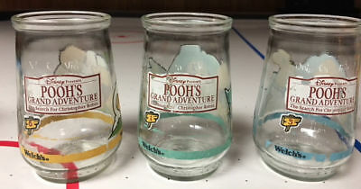 3 Welch's Disney Winnie The Pooh Poohs Grand Adventure Jelly Jar Glasses 1994