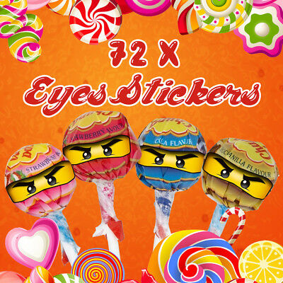 72 x Lego Ninjago Eyes Stickers for Lollipops Birthday Party Celebration Labels