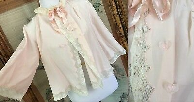 VTG 40s STELLA FAGIN PINK CREAM CROCHET LACE NIGHT GOWN BED JACKET GUC CLEAN