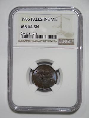 Palestine 1935 1 Mil Hebrew Type Ngc Ms64 Toned Old World Coin Collection Lot