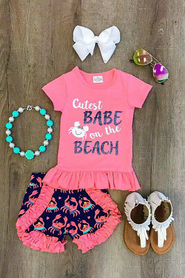 US Stock Toddler Summer Infant Kid T-Shirt Tops Short Pants Outfits Clothes Set