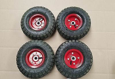 "4 x SACK TRUCK HAND TROLLEY WHEEL TYRE10 INCH DIAM 4.10/3.50-4Suit16mm(5/8"")AXLE"