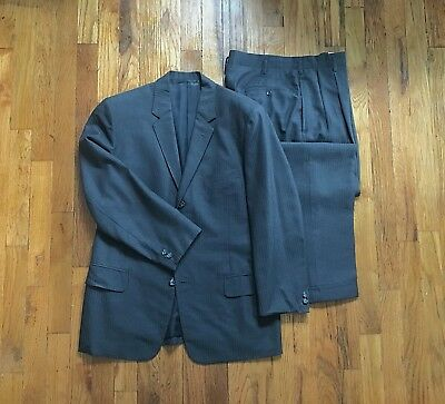 Vintage Mens Late 1950s Hollywood Waist  Wool 2 Piece Suit Sz 36 38