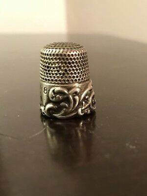 Antique Ketchum and McDougall Sterling Silver Thimble Size 8 Repousse Pattern