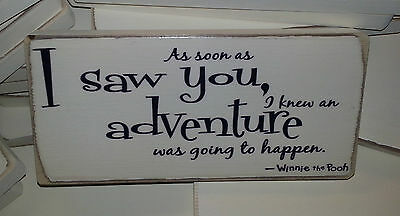 Shabby Chic, Winnie The Pooh Quote, Sign, Plaque. Solid Wood. Beautiful Gift.