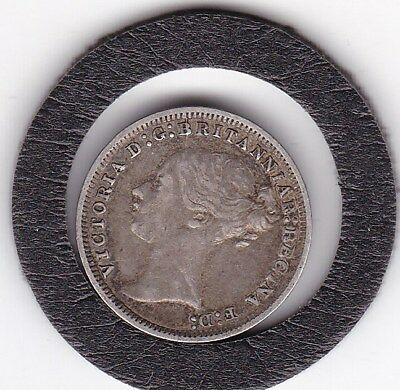 Sharp  1870   Queen  Victoria  Threepence  (3d)  Solid Silver (92.5%) Coin
