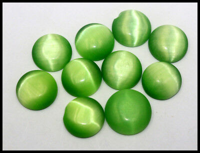 120.00Ct Certified 10Pcs Fantastic Green Cats Eye Chrysoberyl Gems Lot AW2970