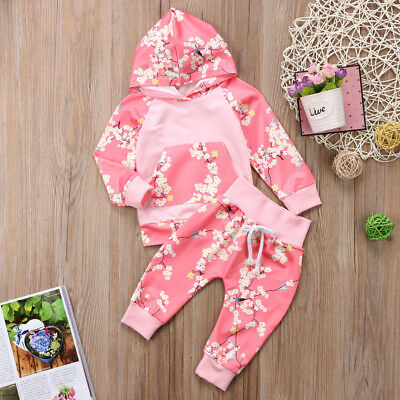 Newborn Baby Infant Hooded T-Shirt Tops Long Pants Leggings Outfits Clothes Set