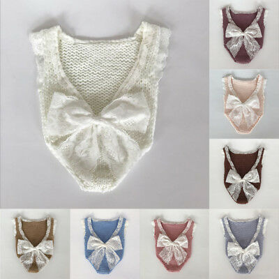 Cute Newborn Infant Baby Girls Lace Romper Bowknot Bodysuit Photo Photography