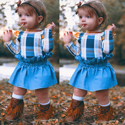 Fashion Toddler Baby Kids Girls Romper Playsuit Dress Skirt Outfits Clothes Set