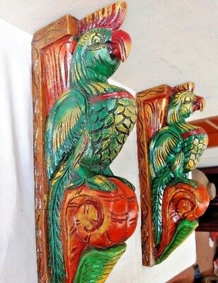 Hand carved Eagle Wooden Wall Corbel Bracket Pair Bird Sculpture Art Decor Rare
