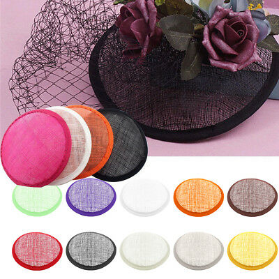 Women Sinamay Cocktail Hat Fascinator Round Base Millinery DIY Craft Accessory P