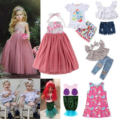 Kids Baby Girl Floral Dress Unicorn Costume Top T-shirt Dress Pant Outfit Set
