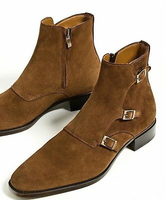 e287b9f13bf Mens Buckle High Chelsea Suede Leather Shoes Handmade Men Jodhpurs Ankle  Boots