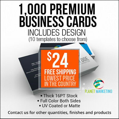 1000 Designed Business Cards Full Color 2 Side Printing UV Coated FREE Shipping