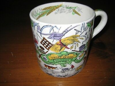 """RARE ANTIQUE BISHOP CHINA LARGE FARMERS ARMS MUG  """"TRUST IN GOD""""  c1911"""