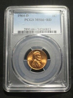1964-D PCGS Certified MS66+ PLUS Red Lincoln Cent Penny 1C Coin Uncirculated