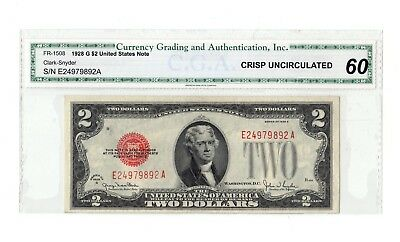 FR-1508 1928-G Two $2 Dollar Note Bill Red Seal FR.1508 1928 G E-A GRADED 60