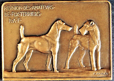 FOX TERRIER MEDAL - AIREDALE DOG. BRONZE PLAQUETTE SIGNED P. MAHLER Ca 1930