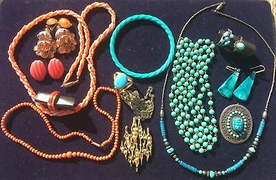 Vintage 1000 silver pure sterling 925 faience scarab brooch pendant lot bundle