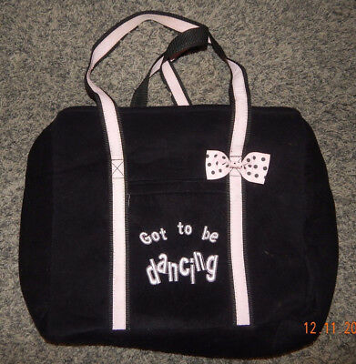 """Youth Girls Dance Bag--No Brand Tag--Black Velour--""""got To Be Dancing""""--Exc"""