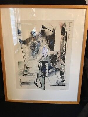 Vintage Signed Drawing By David Imanaka Snow Skiing Blueprint Art