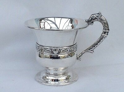 Superb Silver Cup or Christening Cup, Celtic/Serpent Decoration, Chester 1936