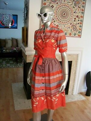 Vtg Rare 50's FLORAL Screen Siren BELTED Cocktail SWING Dress MINT Condition!!