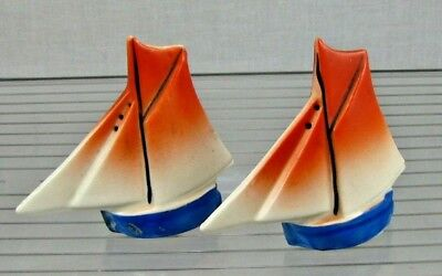 Vintage Pair of Salt and Pepper Shakers - Sailboats - Made in Japan