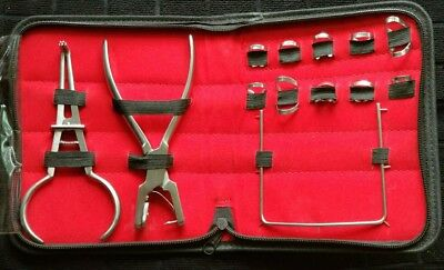 New Rubber Dam Starter Kit of 13 Pcs with Frame Punch Clamps Dental Instruments
