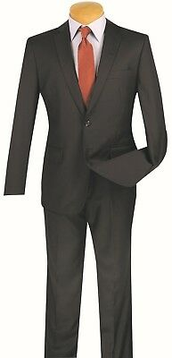 Men's Slim Fit Suit Single Breasted 2 Buttons Wedding Prom Navy Blue SC900-12